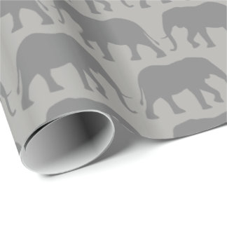 African Elephant Silhouettes Pattern Wrapping Paper