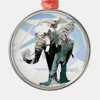 African elephant Silver-Colored round ornament