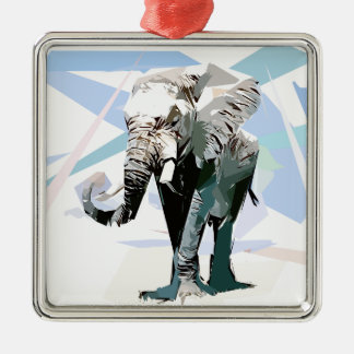 African elephant Silver-Colored square ornament