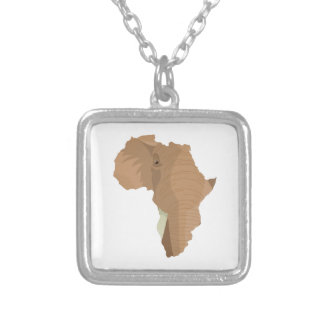 African Elephant Silver Plated Necklace