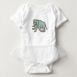 African Elephant Walking Mono Line Art Baby Bodysuit