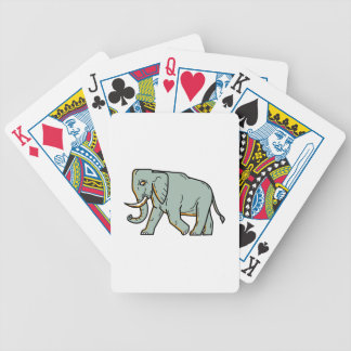 African Elephant Walking Mono Line Art Bicycle Playing Cards