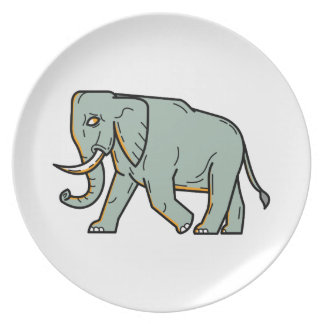 African Elephant Walking Mono Line Art Plate