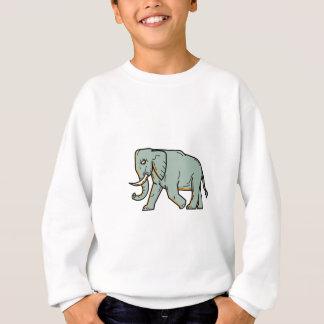 African Elephant Walking Mono Line Art Sweatshirt
