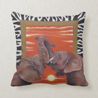 African Elephants in love sunset with Zebra Patten Throw Pillow