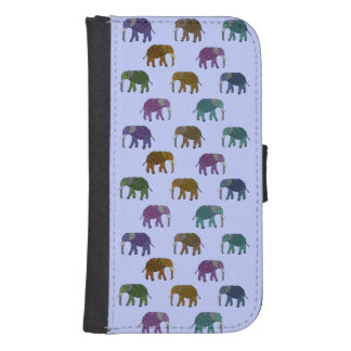 African Elephants Pattern Samsung S4 Wallet Case