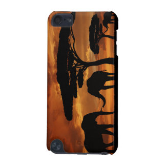 African elephants silhouettes in sunset iPod touch (5th generation) cover