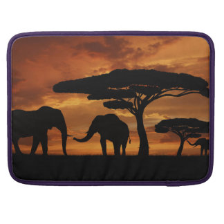 African elephants silhouettes in sunset sleeve for MacBook pro