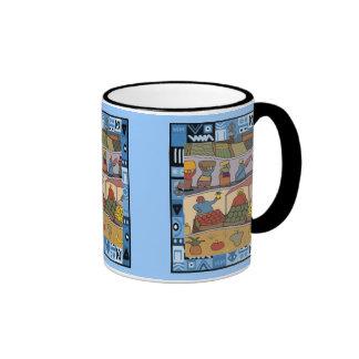 African farming and market ringer coffee mug