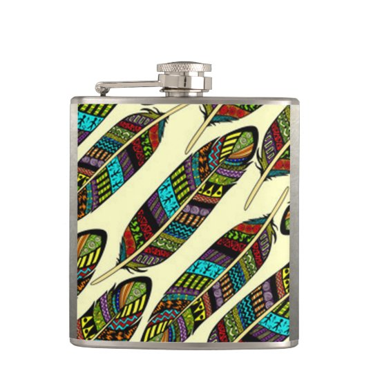 African Feathers Hip Flask