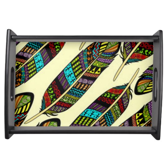 African Feathers Serving Tray