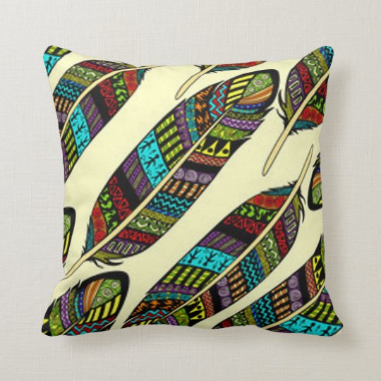 African Feathers Throw Pillow