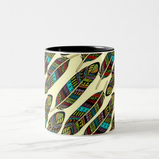 African Feathers Two-Tone Coffee Mug