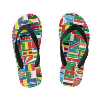 African Flags kids flip flop sandals