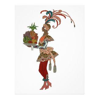 African Fruit Lady - Vintage Illustration Personalized Letterhead