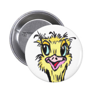 African Funny Ostrich Cartoon Button