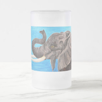 African giant frosted glass beer mug