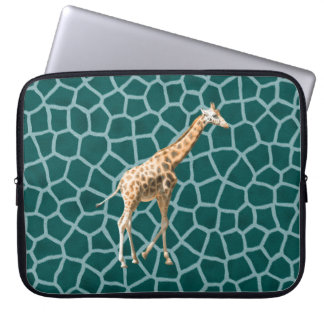 African Giraffe on Blue Camouflage Computer Sleeves