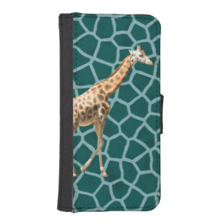 African Giraffe on Blue Camouflage iPhone SE/5/5s Wallet Case