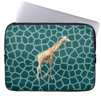 African Giraffe on Blue Camouflage Laptop Computer Sleeve