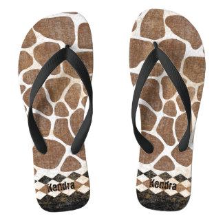 African Giraffe Pattern Flip Flops