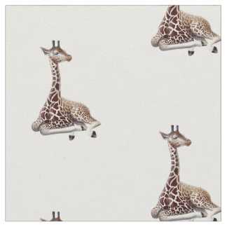 African Giraffe Wildlife Cotton Fabric
