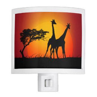 African Giraffes Safari Sunset Night Lamp Nite Lites