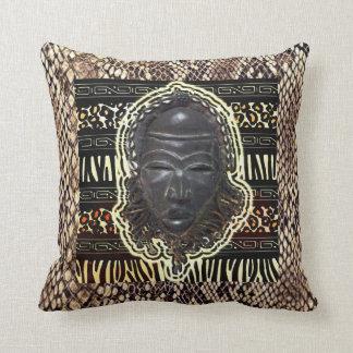 African Good Luck Mask Throw Pillow