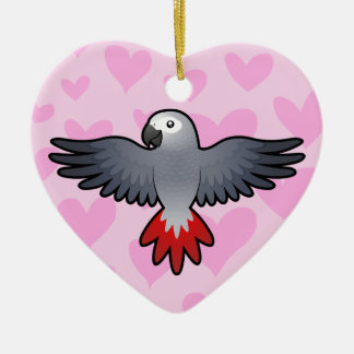 African Grey / Amazon / Parrot Love Ceramic Heart Ornament
