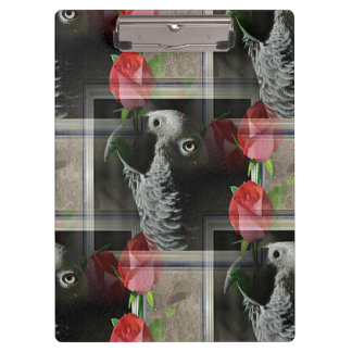African Grey and Geometric Red Roses Clipboard