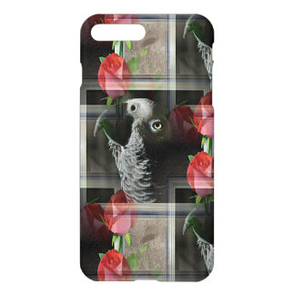African Grey and Geometric Red Roses iPhone 7 Plus Case