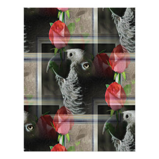 African Grey and Geometric Red Roses Letterhead Template