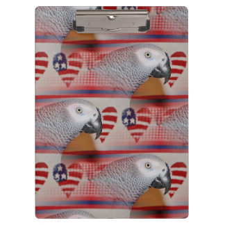 African Grey Parrot 4th of July Clipboards
