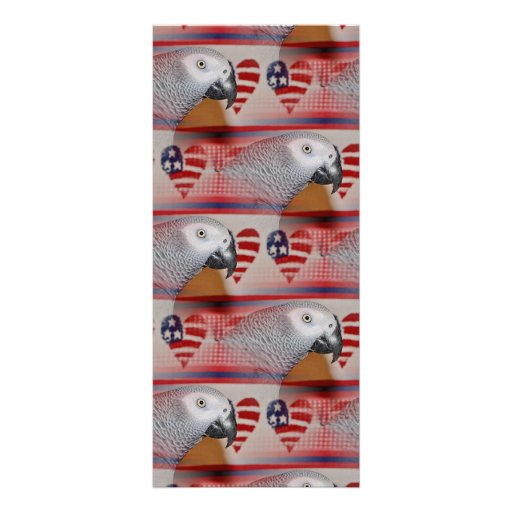 African Grey Parrot 4th of July Rack Card Template