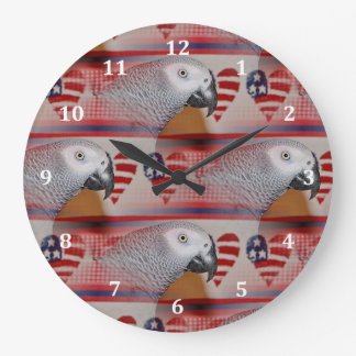 African Grey Parrot 4th of July Wall Clock