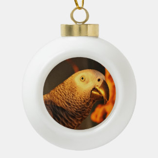 African Grey Parrot Christmas Ball Ornament Ornament