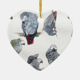 African Grey Parrot. Exclusive designed by Griff Ceramic Heart Ornament