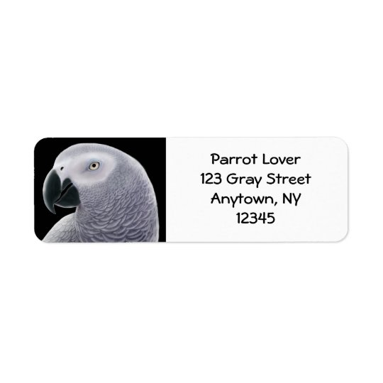 African Grey Parrot Head Label