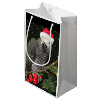 African Grey Parrot Holiday Wine Bag