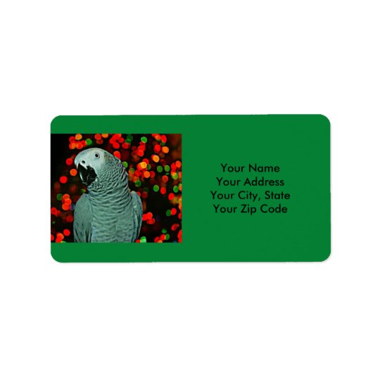 African Grey Parrot Painting with Christmas Tree