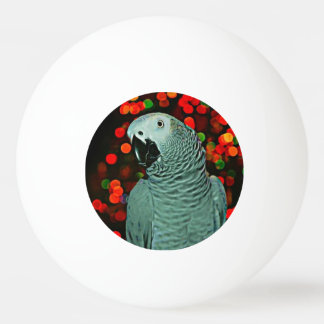 African Grey Parrot Painting with Christmas Tree Ping-Pong Ball