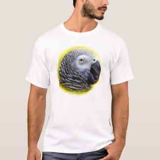 African grey parrot realistic painting T-Shirt