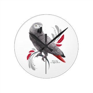 African Grey Parrot Round Clock