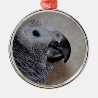 African Grey Parrot Silver-Colored Round Ornament