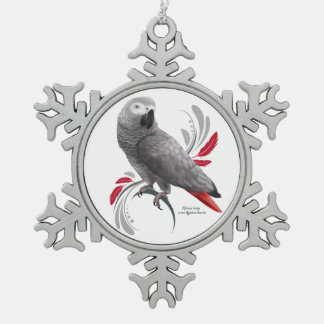 African Grey Parrot Snowflake Pewter Christmas Ornament