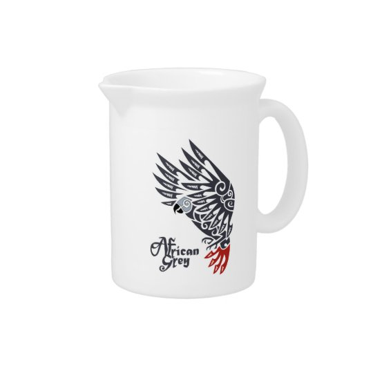 African grey parrot tribal tattoo pitcher