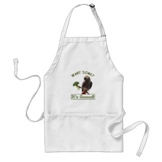 African Grey Parrot With Broccoli Standard Apron