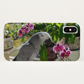 African Grey Parrot with Orchids iPhone X Case