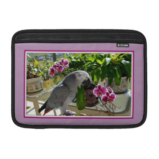 African Grey Parrot with Orchids Sleeves For MacBook Air