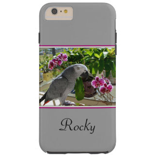 African Grey Parrot with Orchids Tough iPhone 6 Plus Case